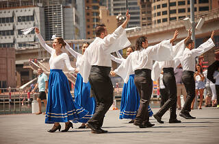 People dancing in traditional costume at the Greek Festival of Sydney.