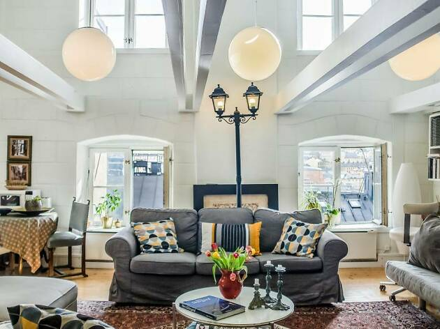 Living room with street lamp and boho decor