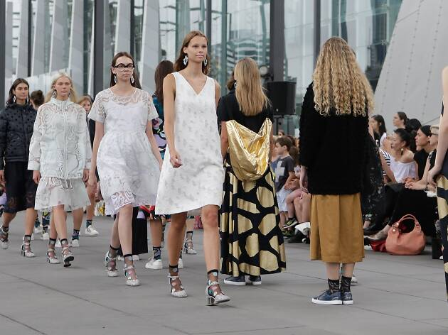 Models in white, black and gold on Gorman runway