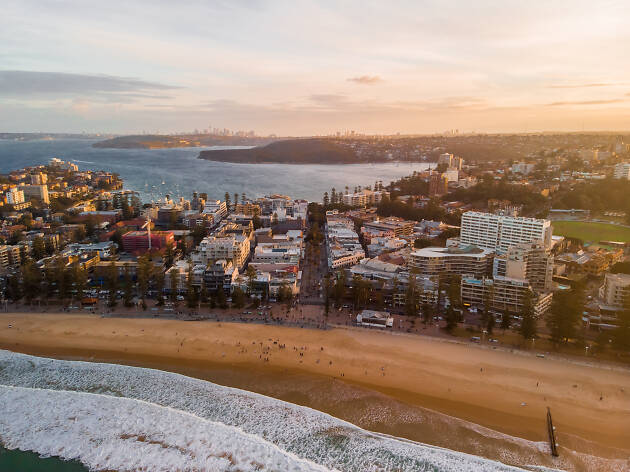 Arial picture of Manly Beach at sunset.