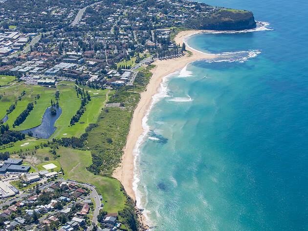 Mona Vale Beach from above.