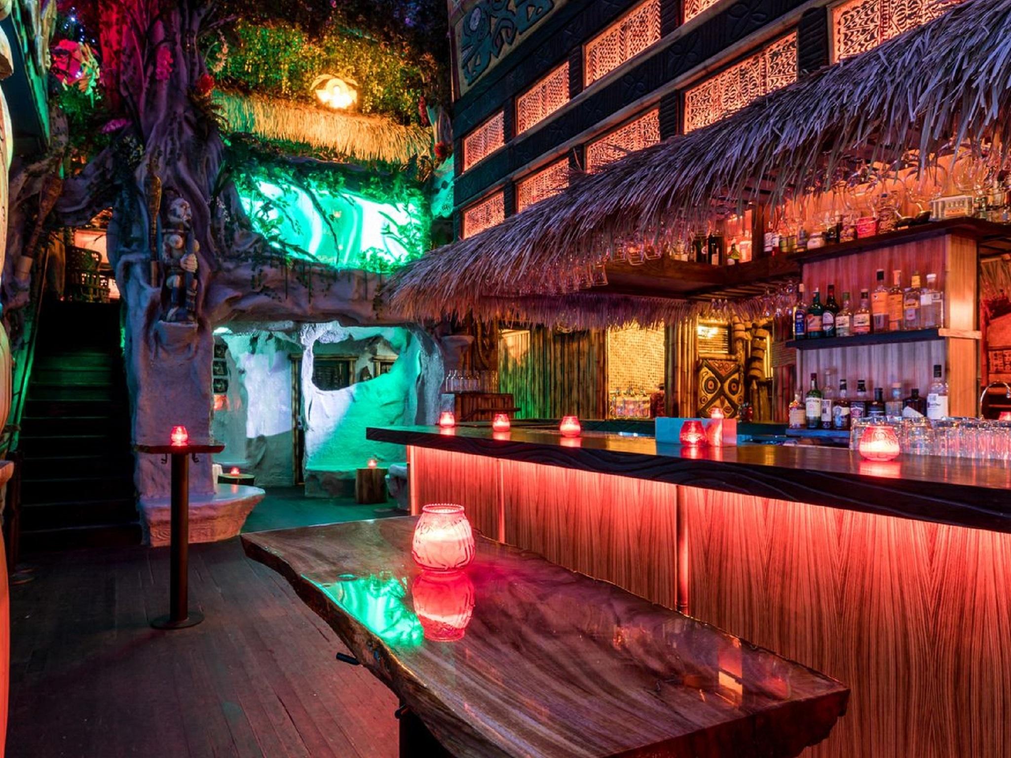 A colorful tiki bar