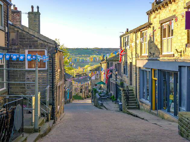Cobbled street in Haworth