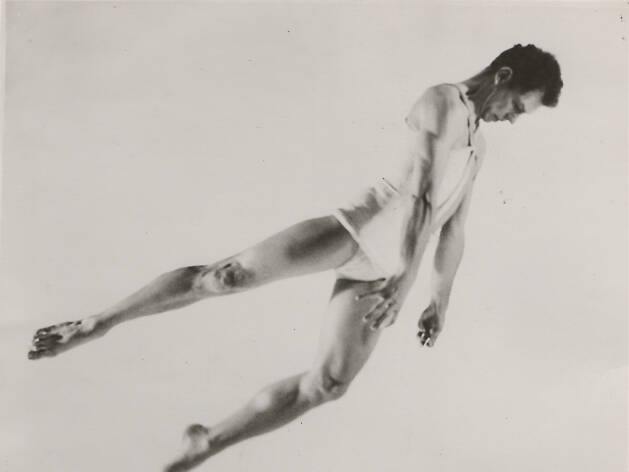 Merce Cunningham in Sixteen Dances for Soloist and Company of Three.