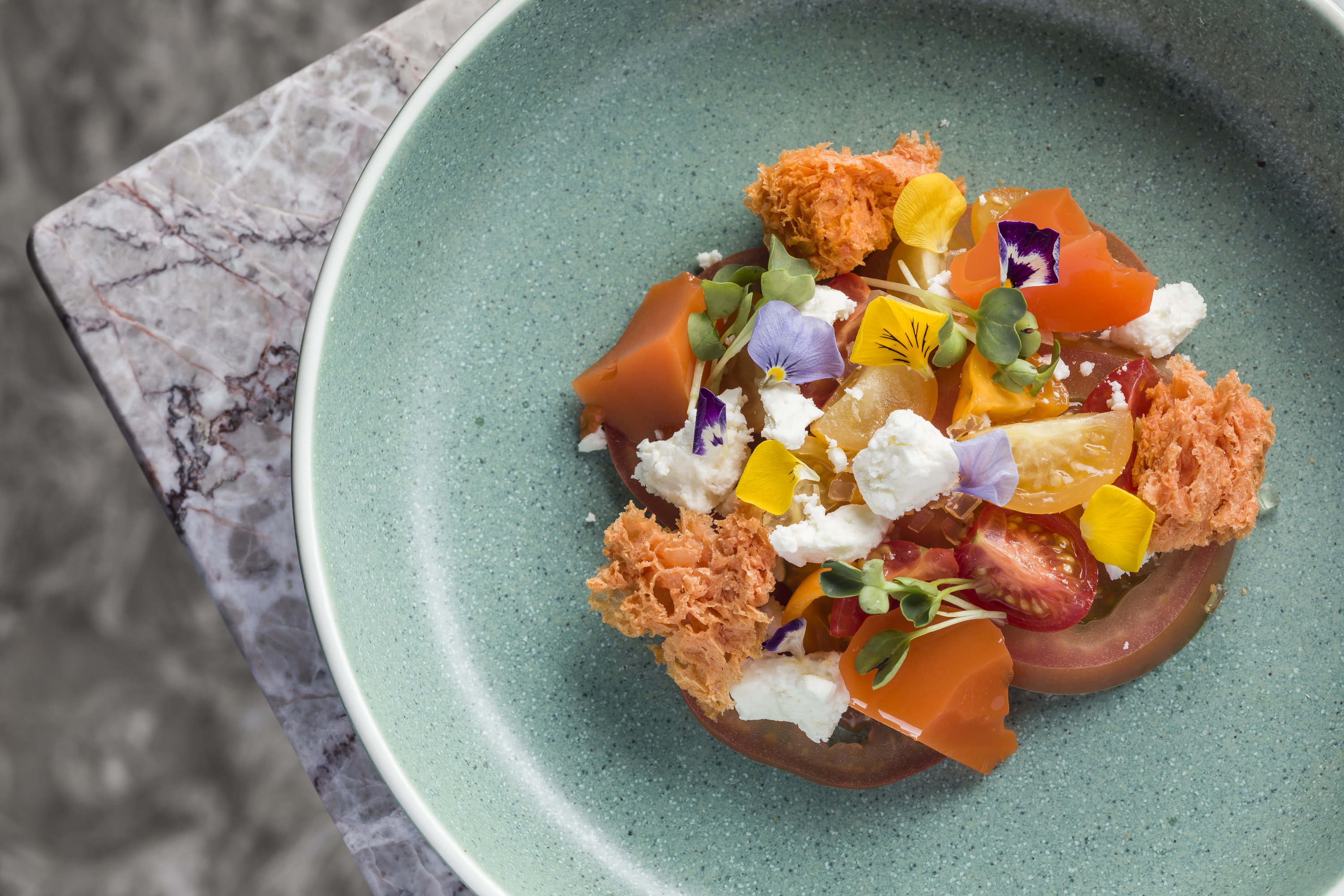 Ignis - cold-smoked tomato with feta cheese and kombu