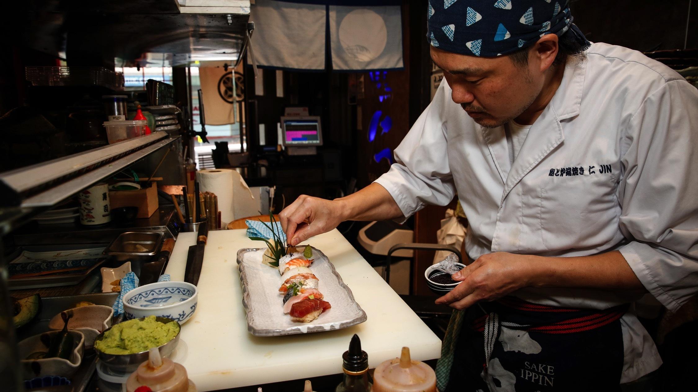 Making sushi at Yakitori Jin
