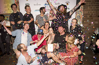 The team from Old Mate's Place with confetti