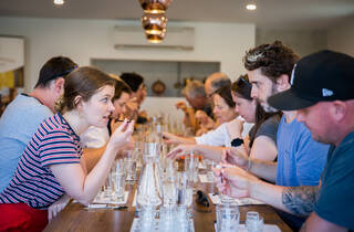 People at a wine tasting at Bass and Flinders