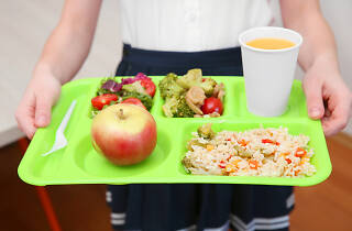 Child carrying school lunch tray with vegetables, fruit and rice
