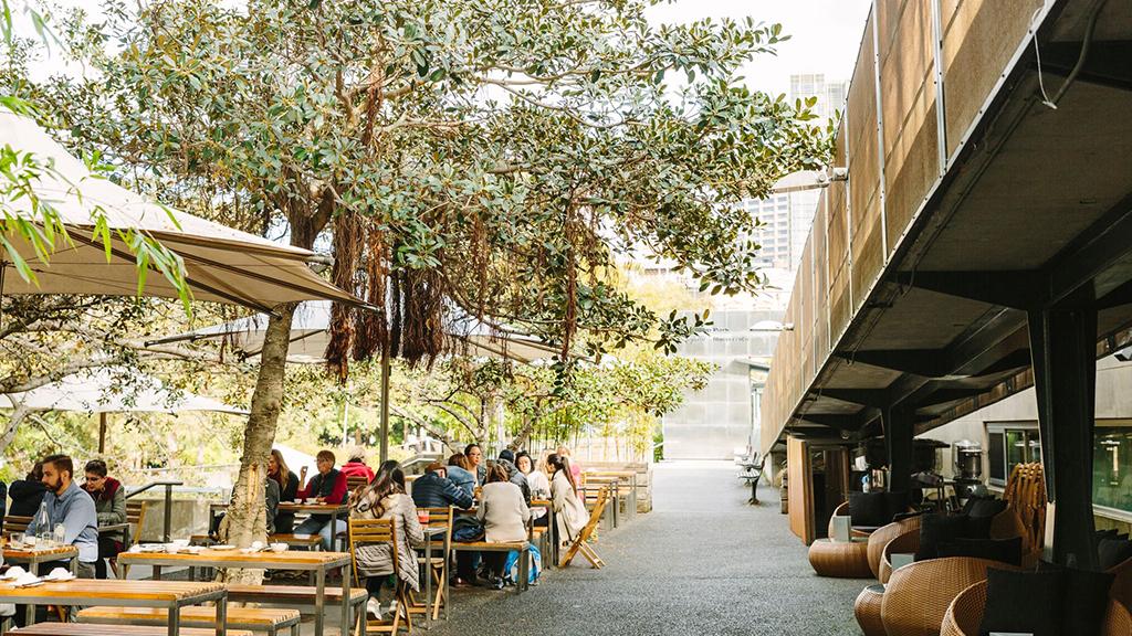 People sitting in courtyard at Bodhi Restaurant Bar