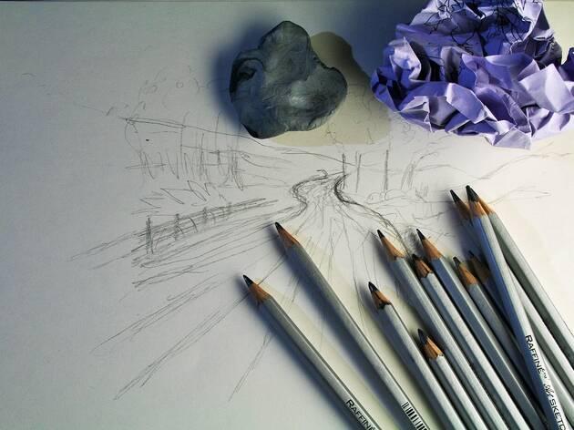 Sketch pad and pencils