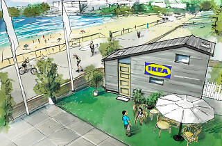 Artists impression of the tiny home IKEA pop-up at Bondi Beach.