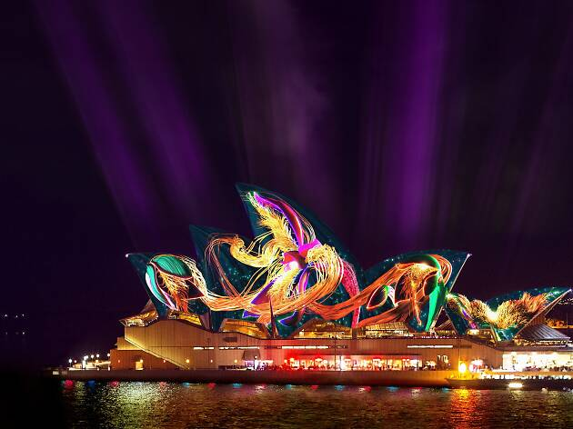 Artist's render of Andrew Thomas Huang's projection on the sails of Sydney Opera House