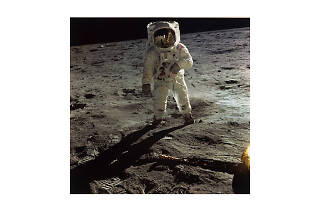 Neil Armstrong, Astronaut Edwin E. Aldrin Jr. Walks on the Surface of the Moon, Apollo 11, July 16–24, 1969, 1969, detail