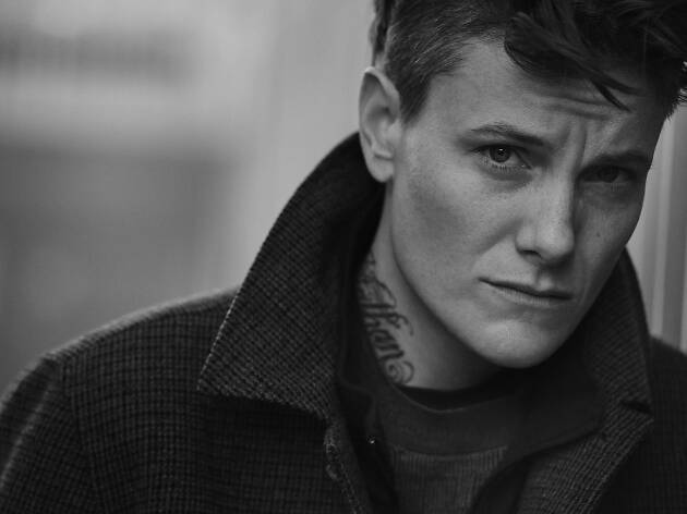 Athlete and model Casey Legler in black and white photo