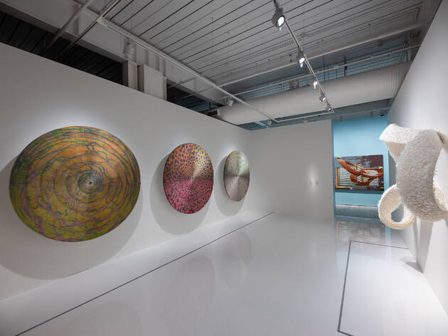 (Installation shot of Mia Liu 'A Route of Evanescence' and 'Guggen' Dizzy'. Photograph: Supplied)