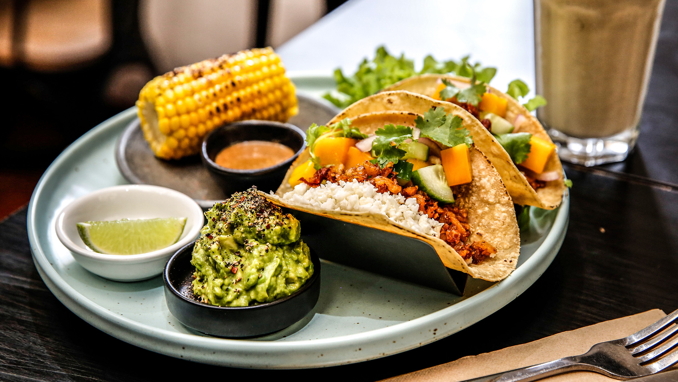 Tacos with gaucamole and corn at Gathered Kitchen