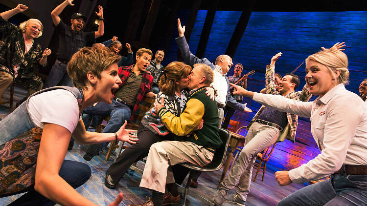 The original Broadway company of Come from Away on stage