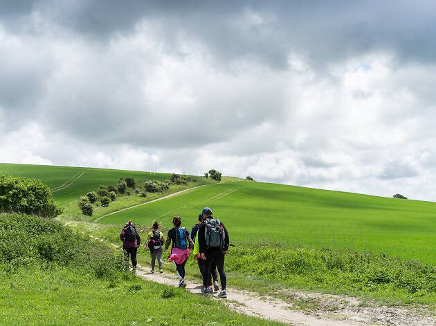 Group walking the South Downs Way, Sussex