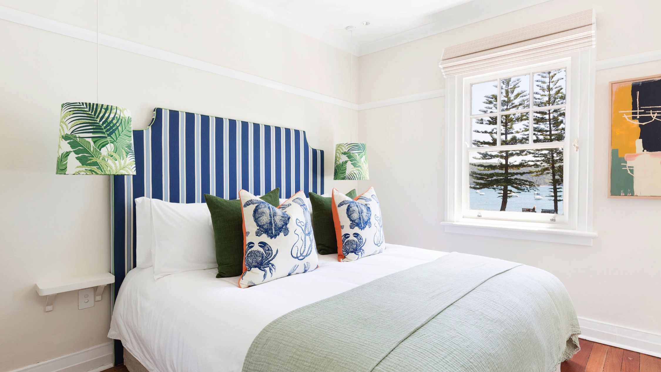 Bed inside hotel at Barrenjoey House Palm Beach