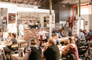 Crowd shot of people dining in Hydrant Food Hall