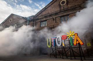 (Tom Mùller, 'Ghost Line' 2019 and Sam Cranstoun, 'Utopia' 2019 at Carriageworks. Photograph: Anna Kucera)