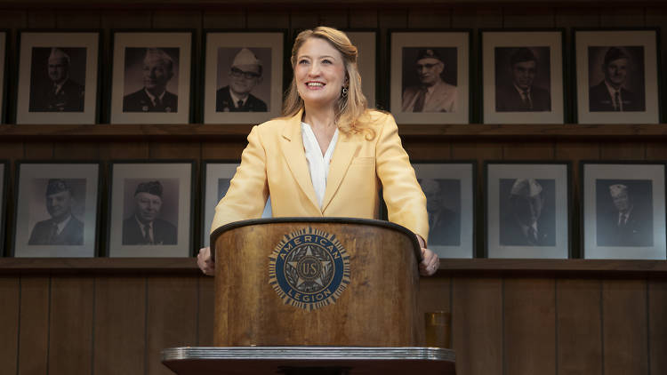 Heidi Schreck at the podium in What the Constitution Means to Me