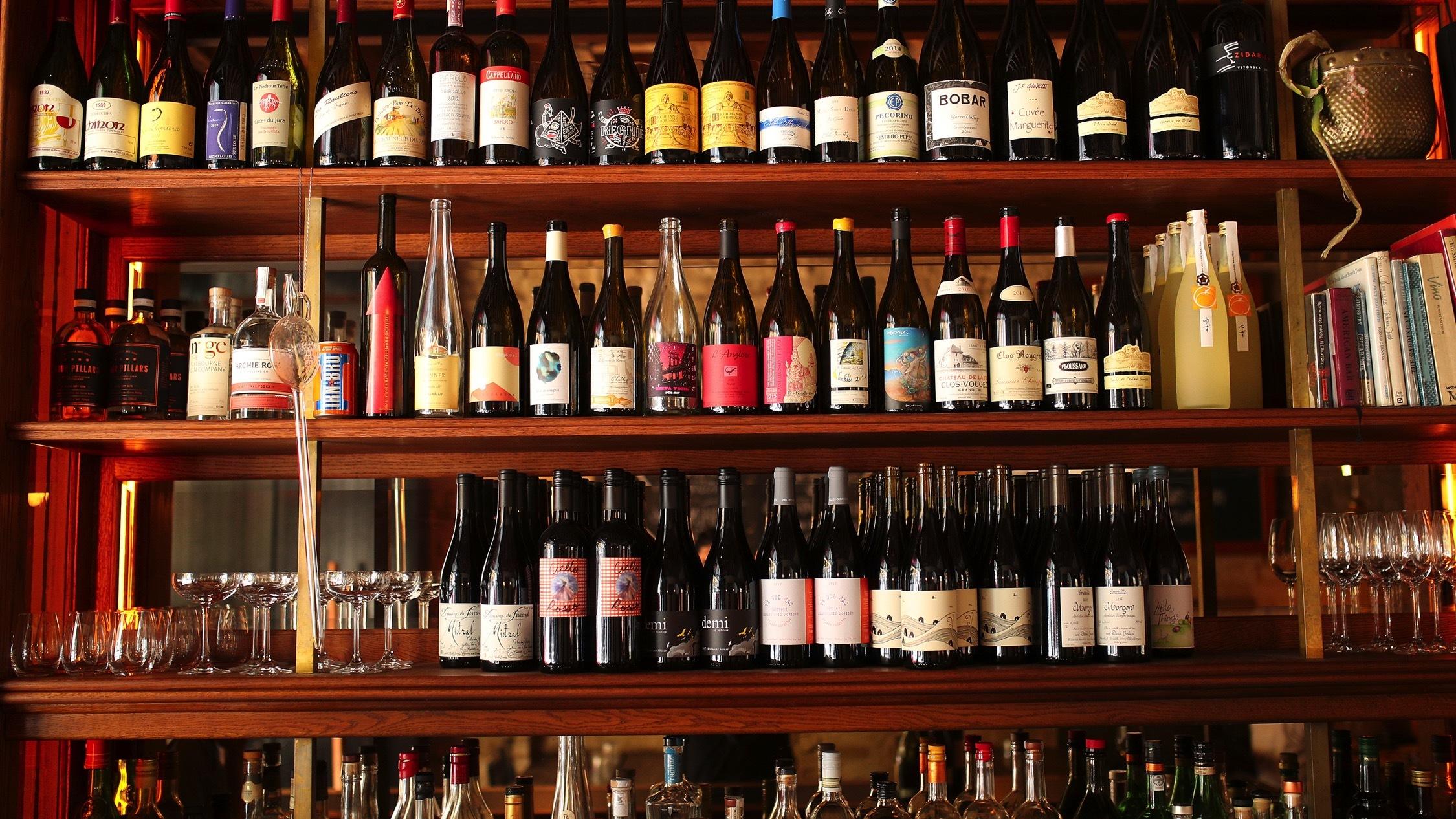 Bottles on shelf at Embla