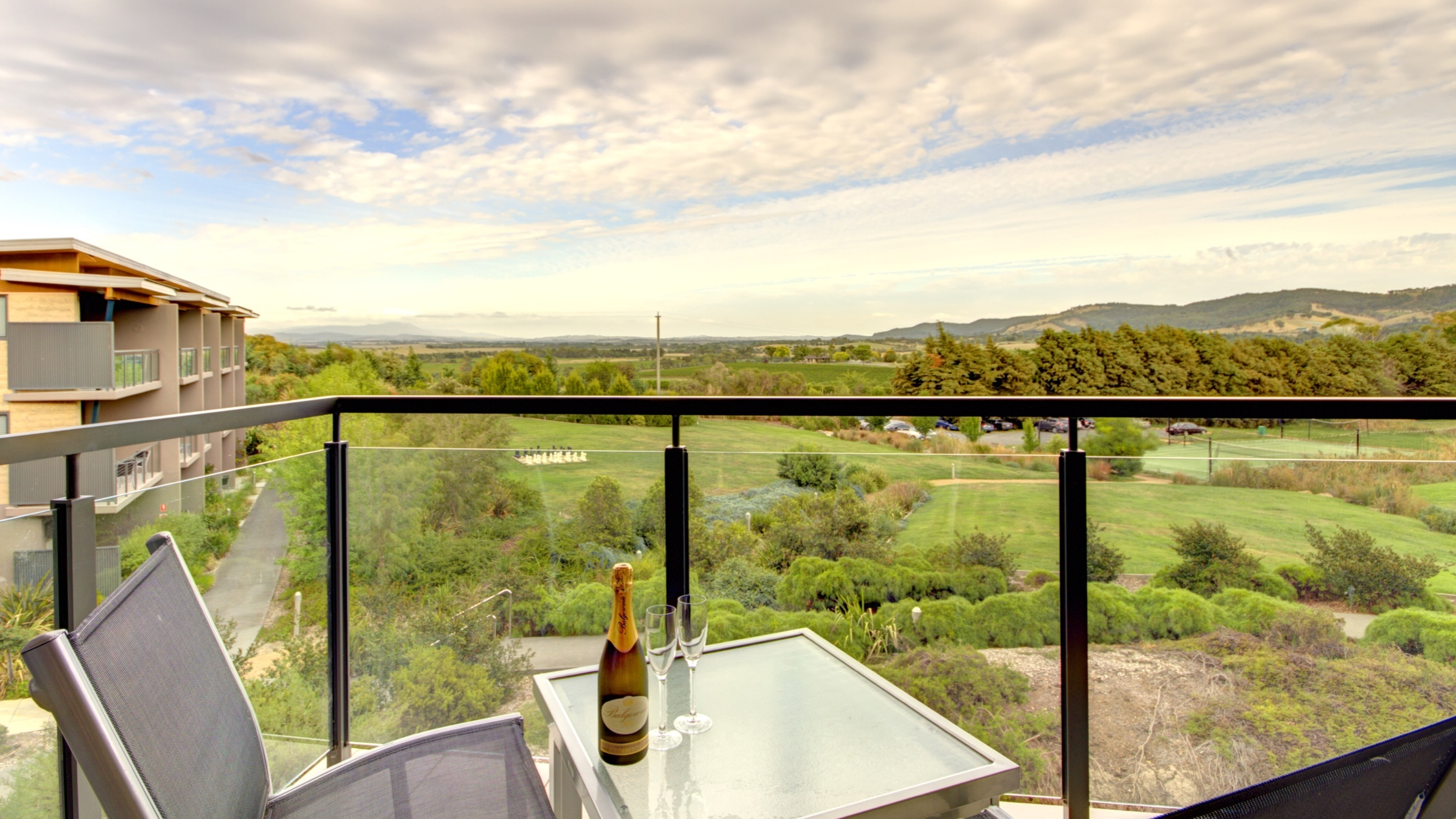 Wine on a balcony at Balgownie Estate