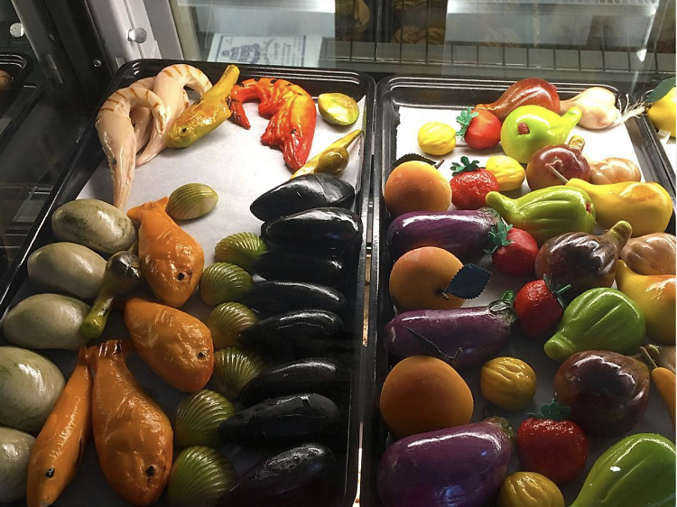 Marzipan fruit at Fortunato Brothers