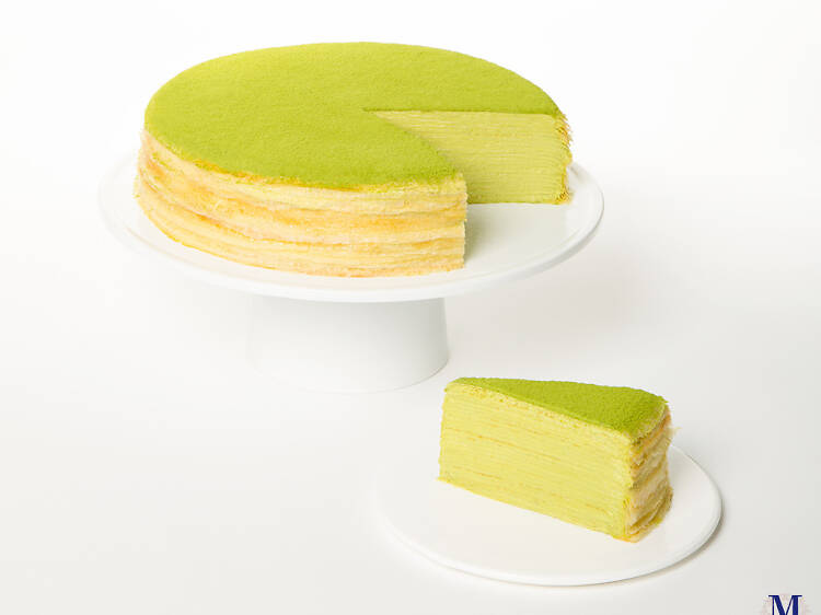 Green tea mille cake at Lady M Cake Boutique