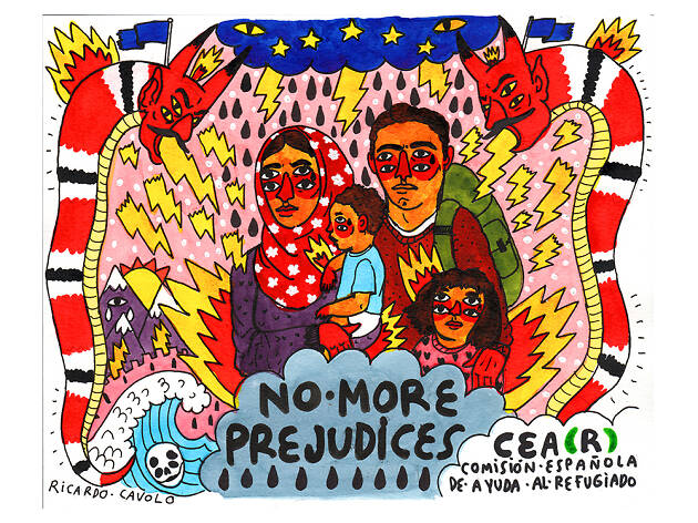 Ricardo Cavolo pinta a los refugiados en Caixaforum