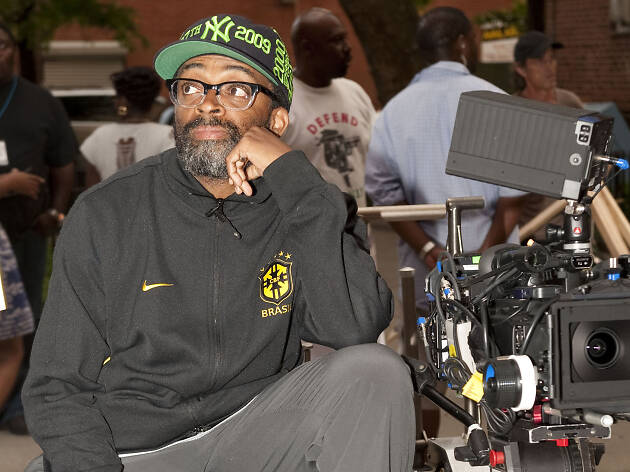 Spike Lee at a camera directing.