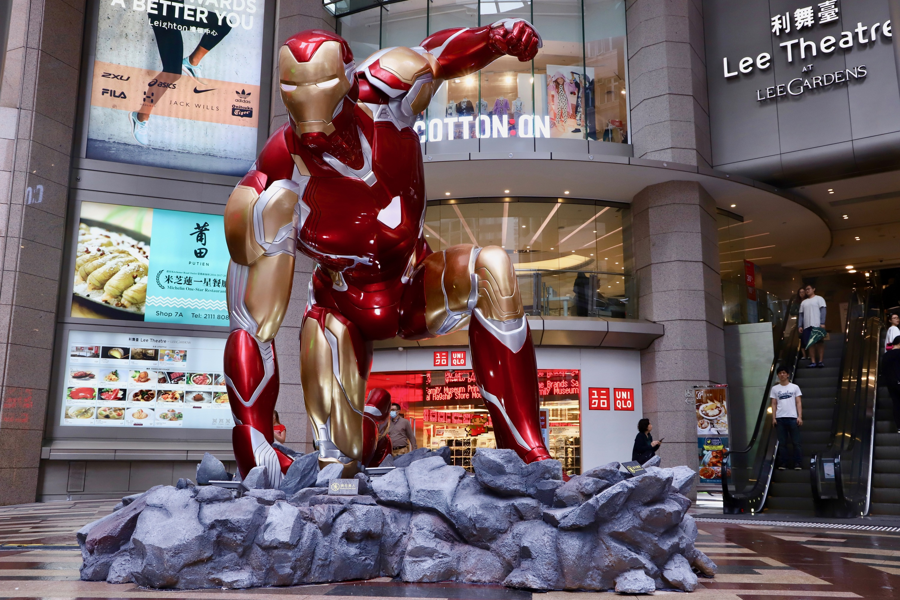 A giant 4.5m Iron Man installation and life-sized Avengers have taken over Hysan Place