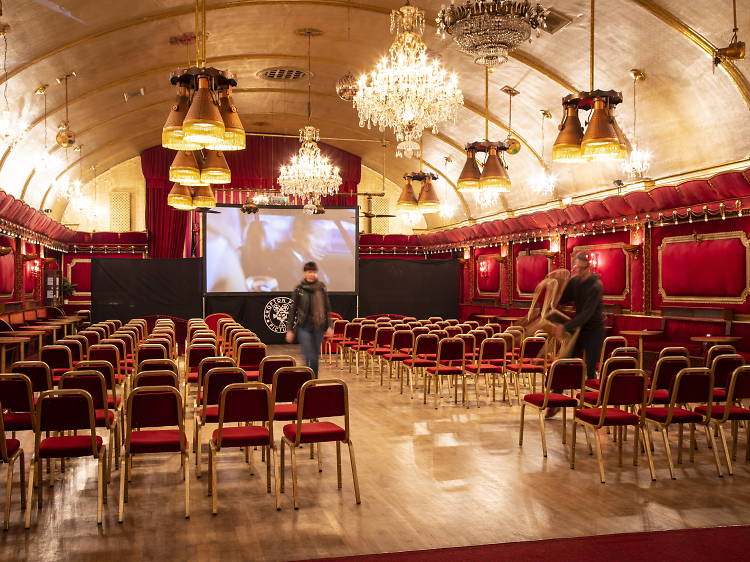 The movie pop-up in a ballroom