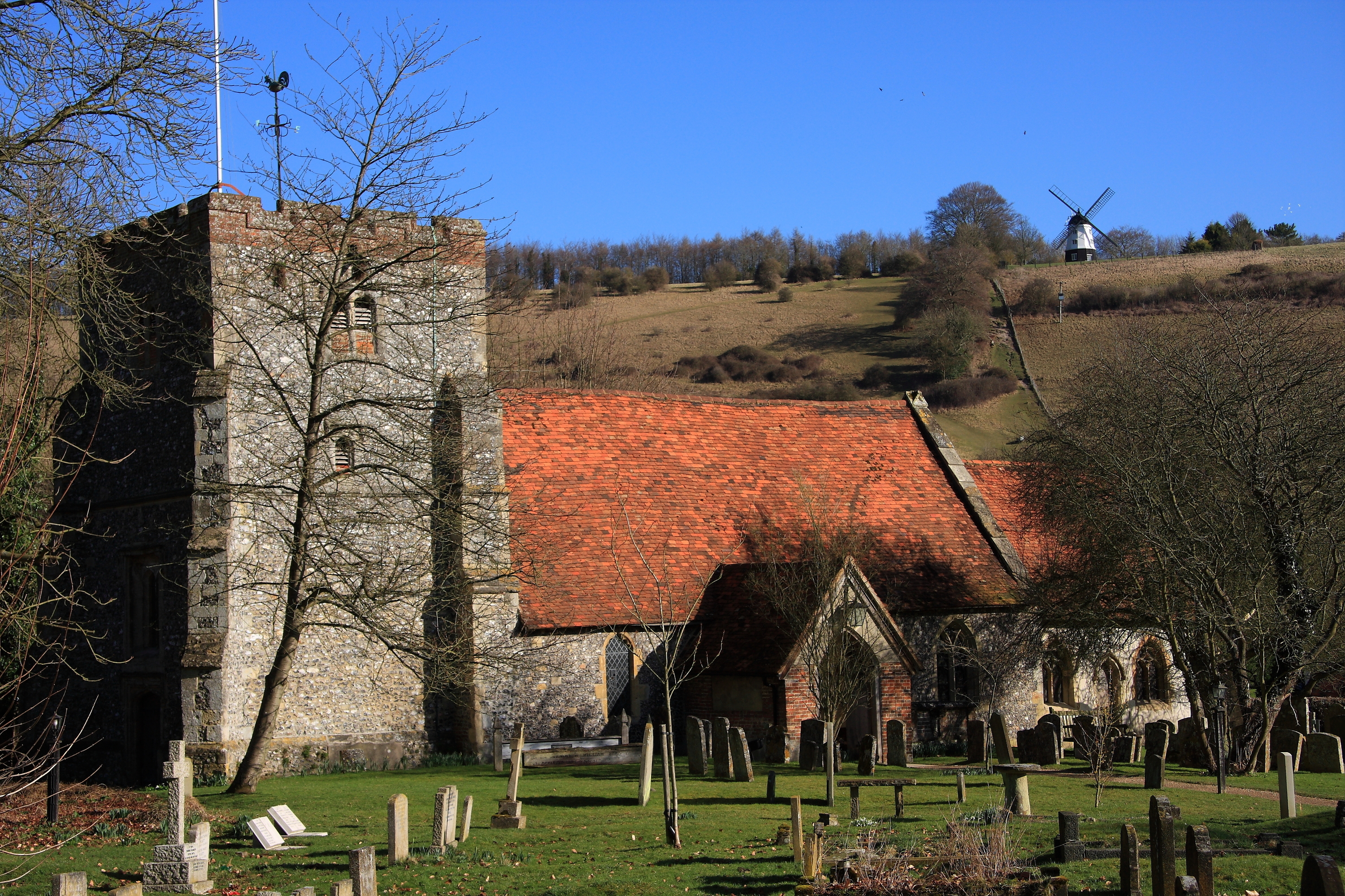 St. Mary's Church at Turville in south Buckinghamshire England.