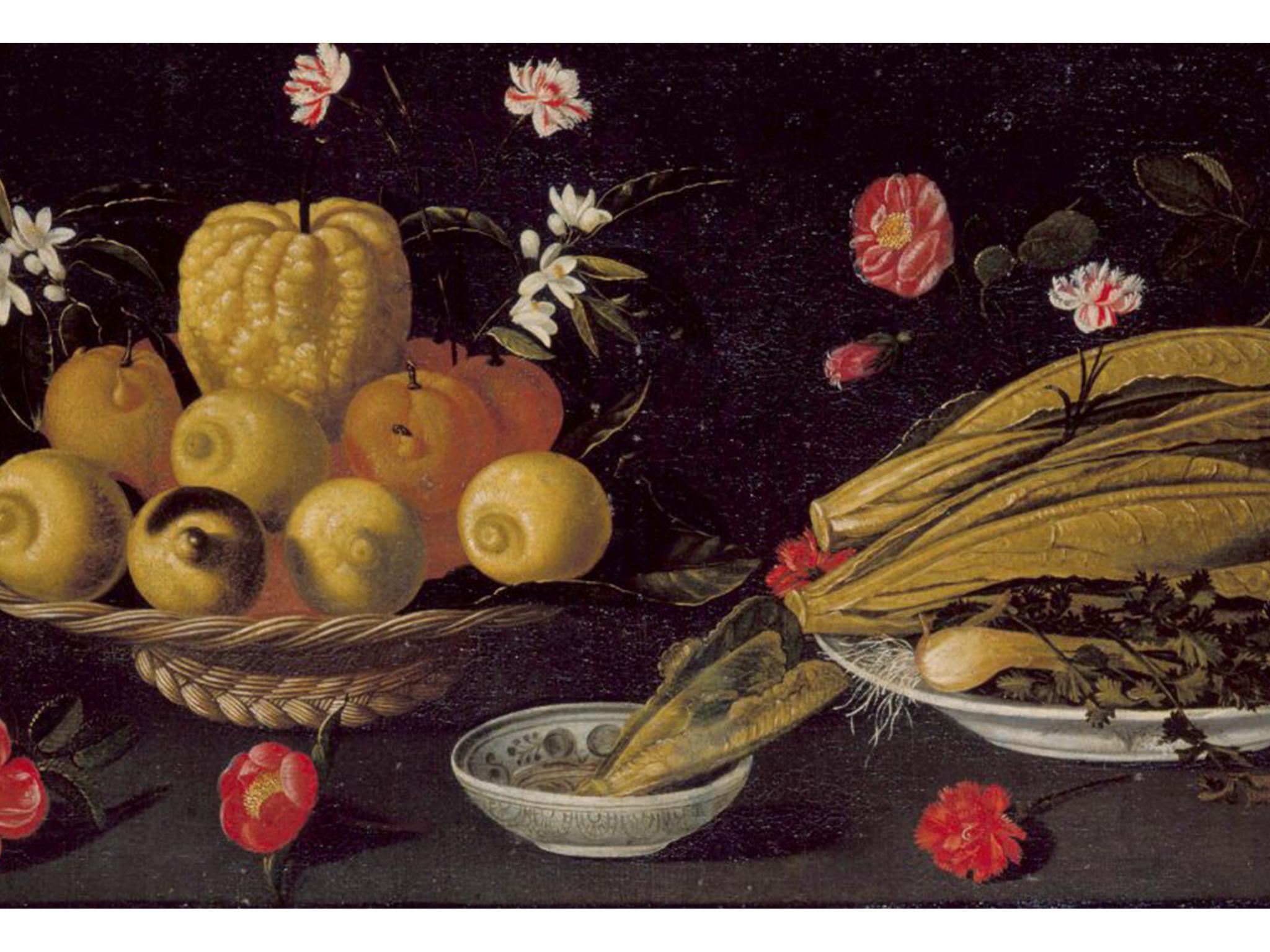 Natureza-morta com frutos, verduras e flores 1660-1670