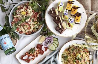 pasta, dessert, food on plates