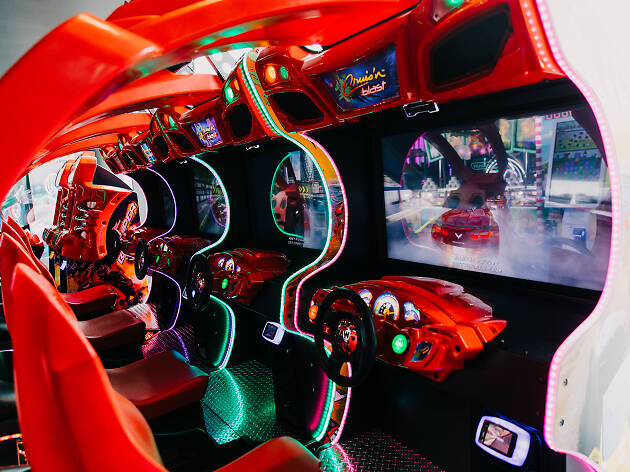 Racing video game machines at Vortex