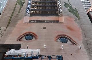 One of New York's largest murals is going up right now on 42nd Street