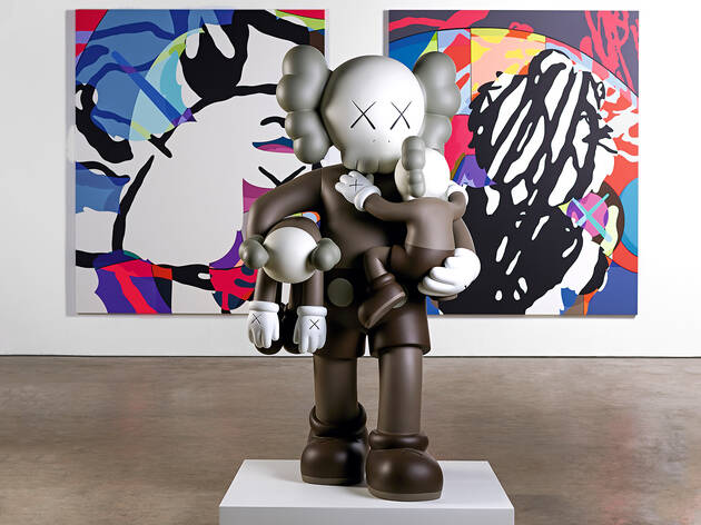 (KAWS, 'CLEAN SLATE' (foreground) 2015, 'SURVIVAL MACHINE' (background) 2015, Photograph: Jonty Wilde)