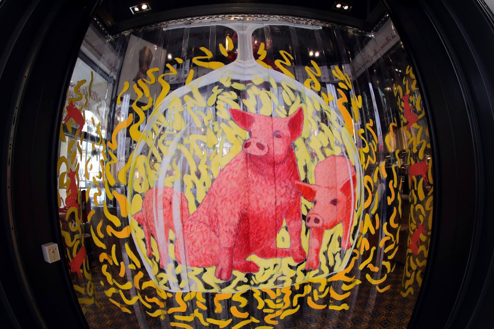 15. Festín de carne de cerdo en L'avant comptoir du marché