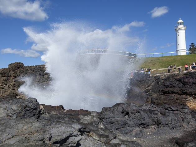 The Blowhole and lighthouse in Kiama, South Coast