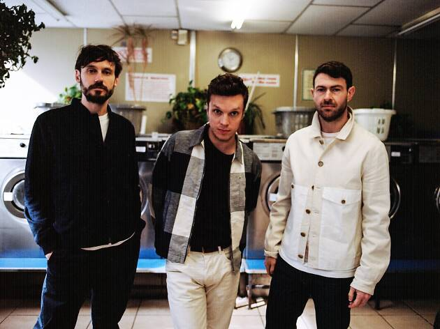 English trio Friendly Fires standing and looking at the camera