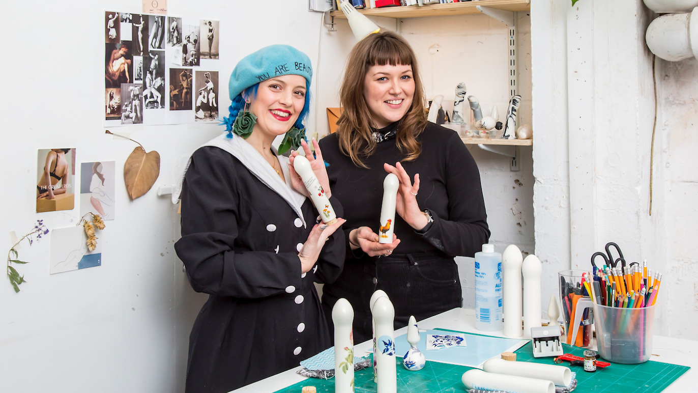 Alix Fox and Adle Brydges at the ceramic dildo workshop, London