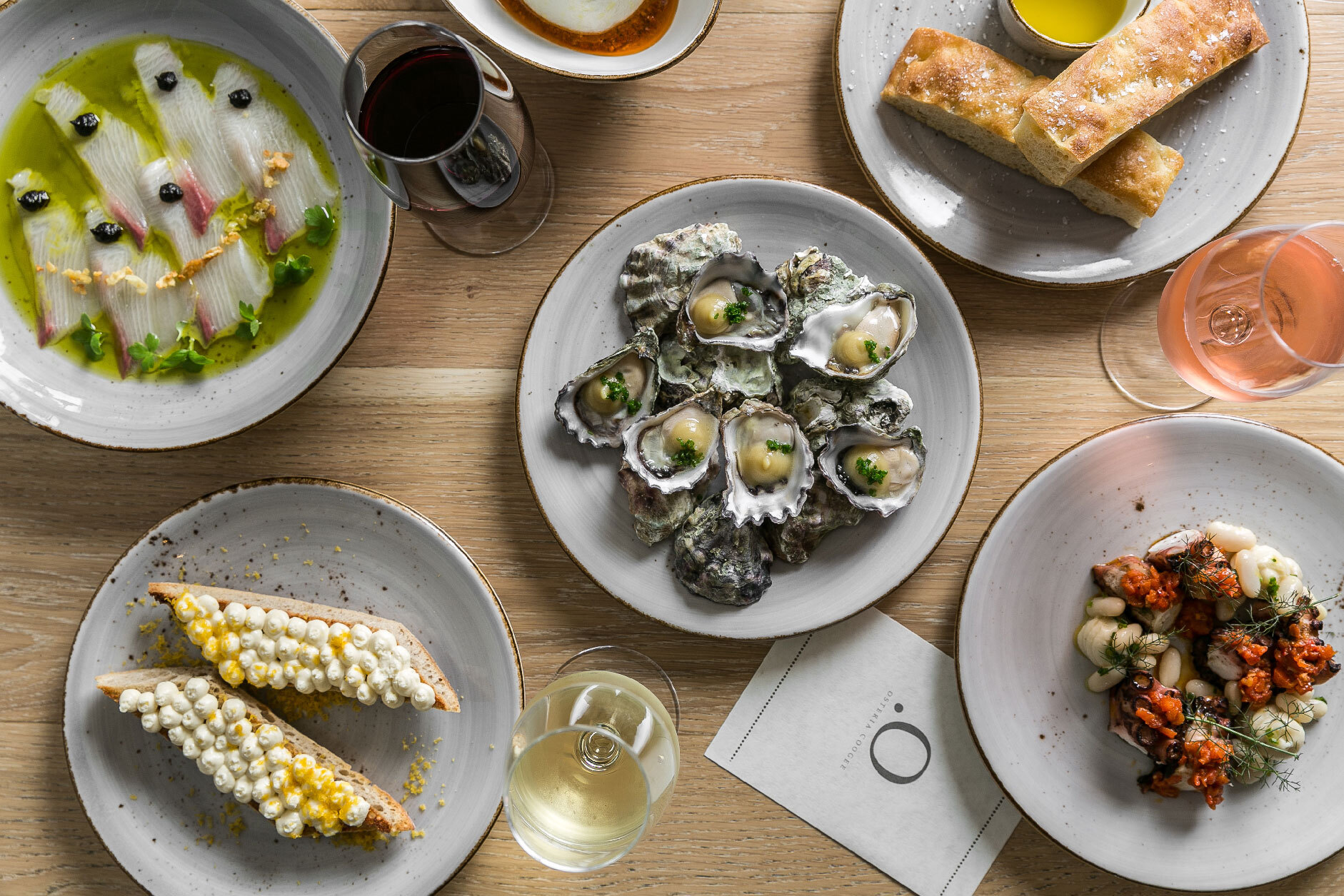 Osteria Coogee oysters and crudo spread