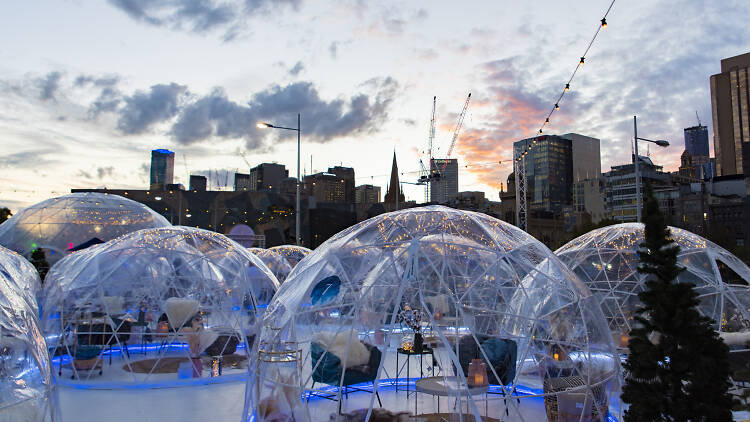 See-through igloos on a Melbourne rooftop