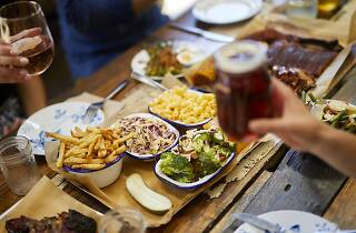 Meat, macaroni and cheese and beer at Red Gum BBQ
