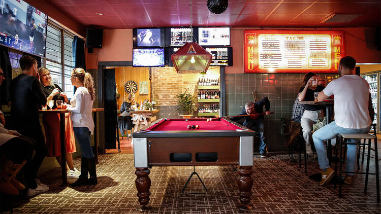 Interior pool table at The George Hotel
