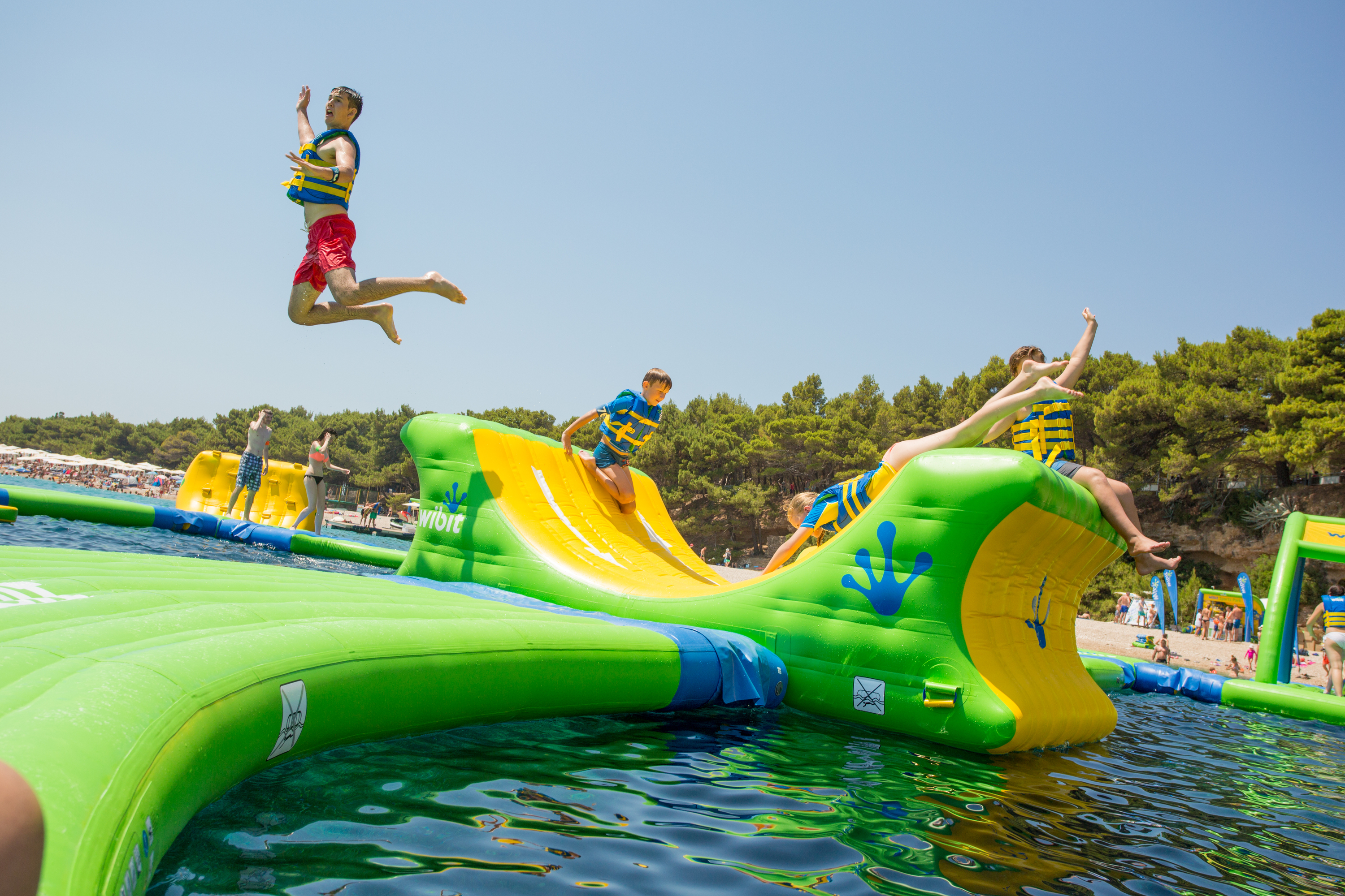 An inflatable water park will debut this summer